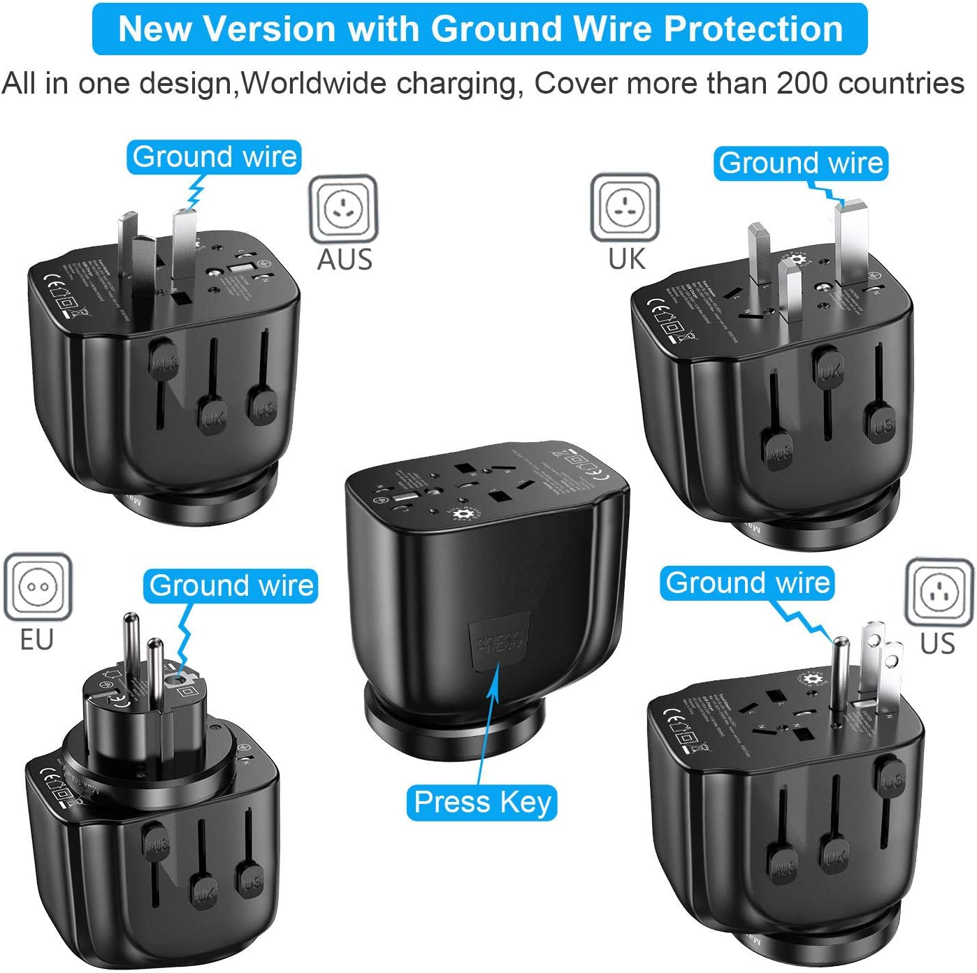 SAUNORCH Universal Travel Adapter Accessories UK European Adapter Plugs Adapters for Hair Dryer US CA,AU EU Italy Asia -Black International Power Adapter W// 3.4A Dual USB Smart Wall Charger