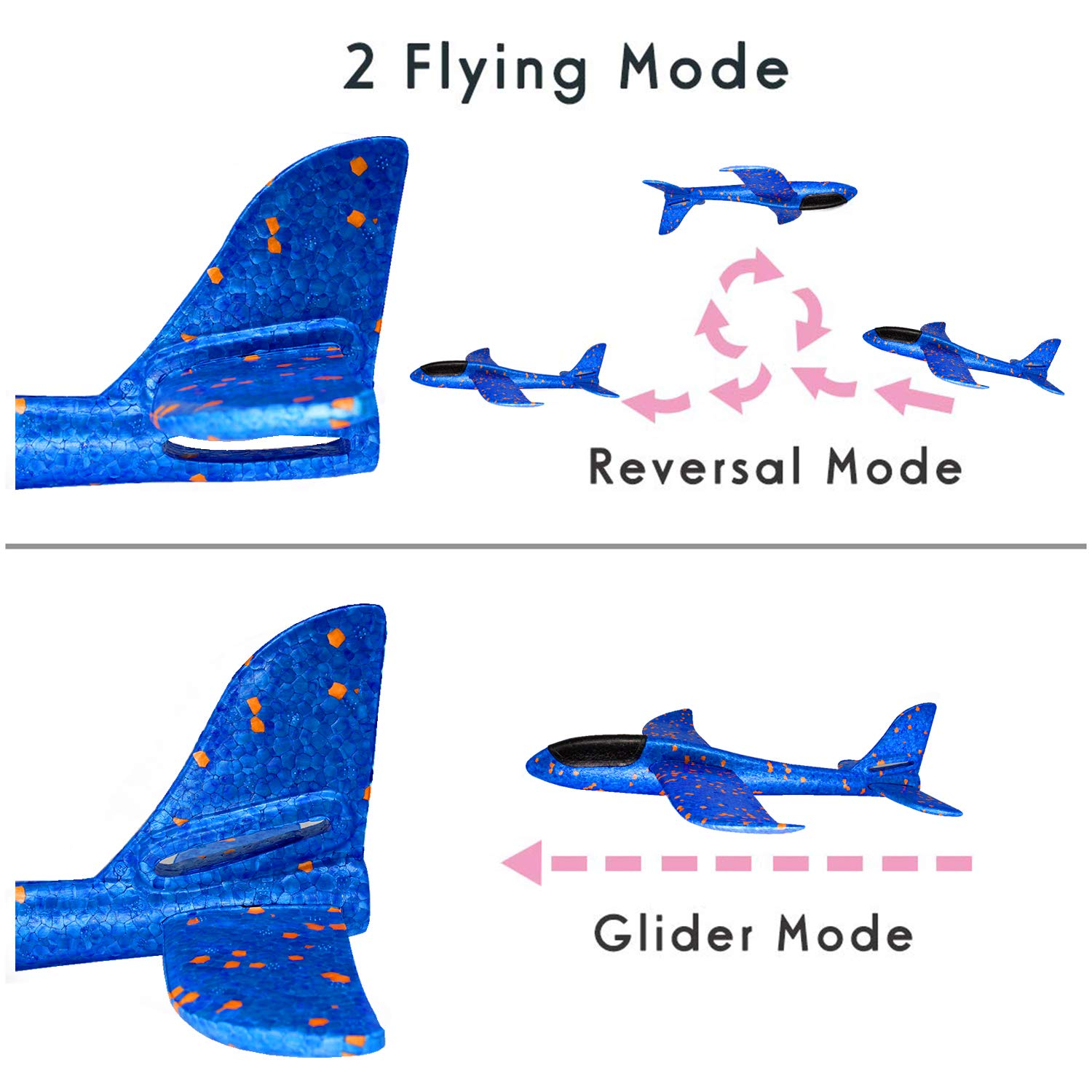 toys4kidsUK Birthday Gift For 4-14 Years Old Kids,Hand Throw Glider Planes For Children Foam Aircraft Model Plane Toy Outdoor Games For 4-14 Years Old Kids FJ BL/&OR