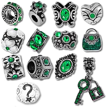 98764136d Green Birthstone Beads and Charms for Pandora Charm Bracelets - May Emerald:  Amazon.co.uk: Kitchen & Home