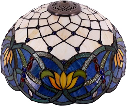 Tiffany Lamp Shade Replacement W16H7 Inch Blue Stained Glass Lotus Lampshade Fit For Table Lamps FLoor Lamp Ceiling Fixture 3 Hooks Inside Pendant Hanging Light S558 WERFACTORY Home Office Decoration