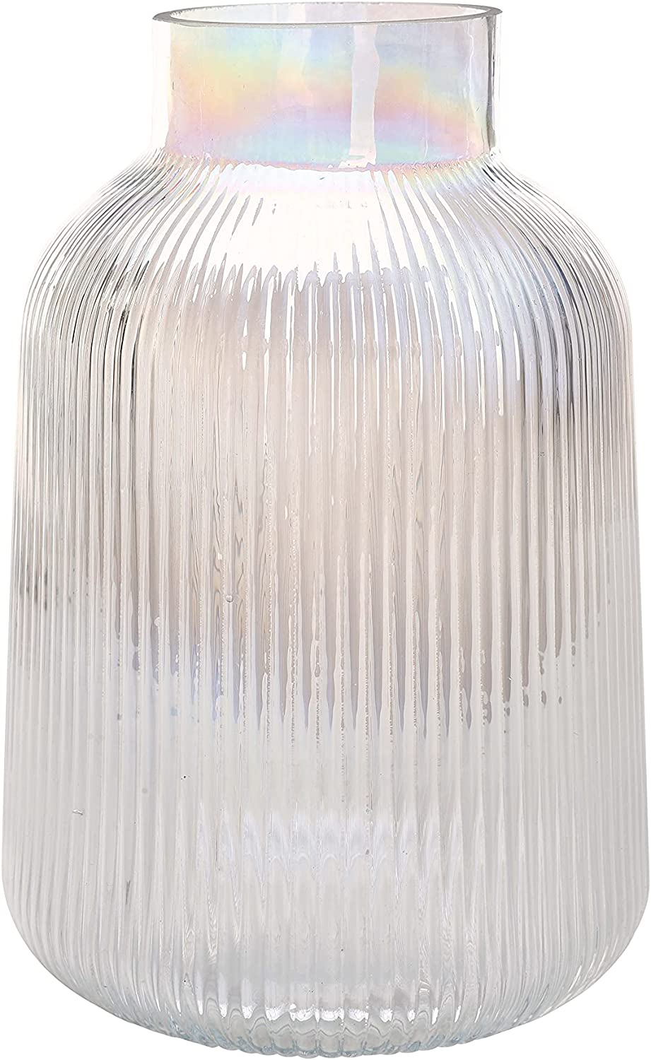 DN DECONATION 8 Inch Glass Vase for Flowers, Clear Glass Vase, Round Iridescent Vase, Clear Vases for Centerpiece, Decorative Vases for Home, Wedding, Farmhouse Decor, Unique Creative Gift