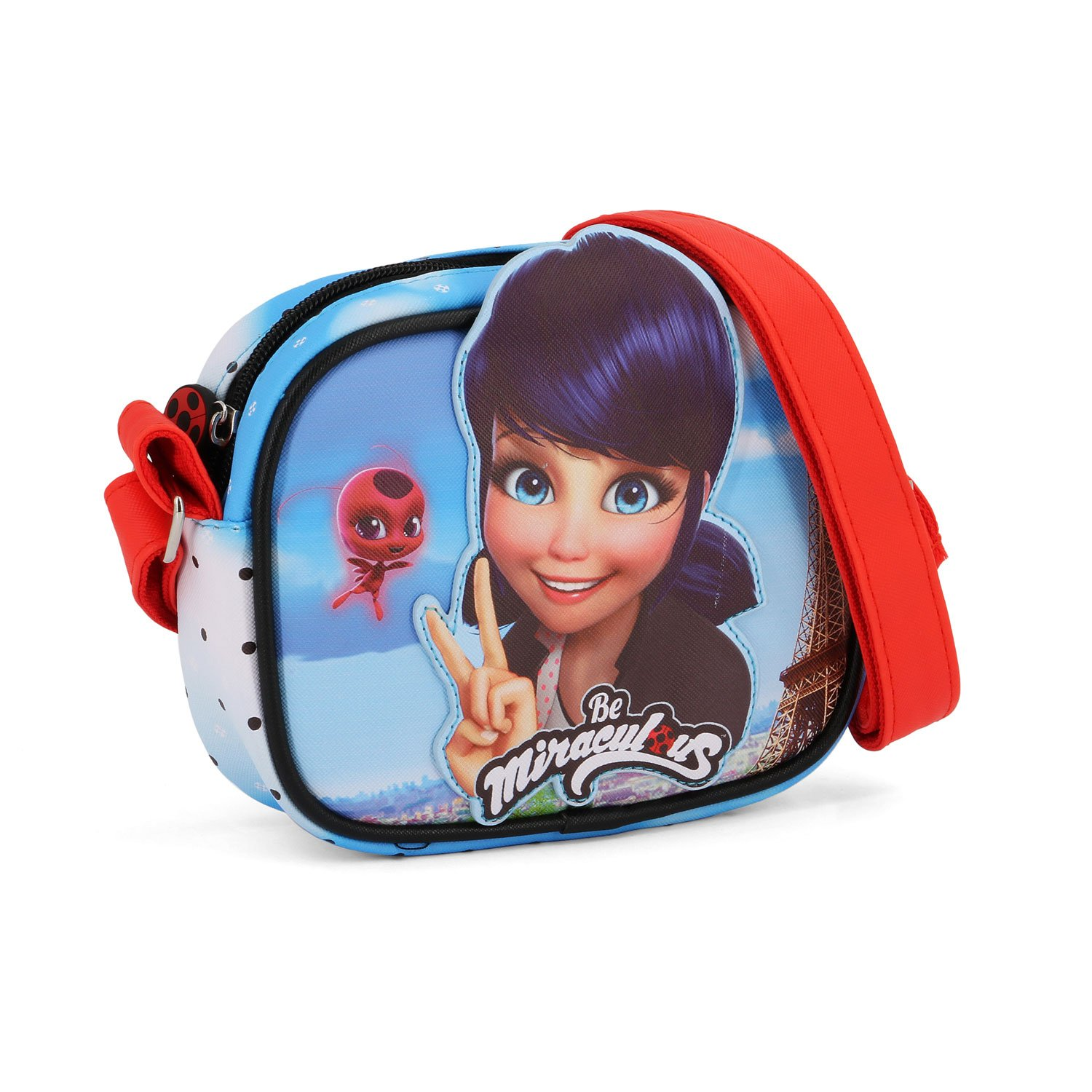 Karactermania Ladybug Courage-Sac à Bandoulière Basic Carré Go Borsa Messenger, 18 cm, Blu (Blue) 37386