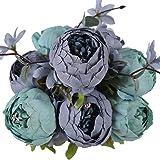 Soledi 1 Ramo 12 Cabezas de Flores Peonías Artificiales Decoración para Boda Fiesta Navidad Hogar (Azul)