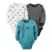 Carter's Baby Boys 3-Pack Long-Sleeve Thermal Bodysuits , Multi, NB