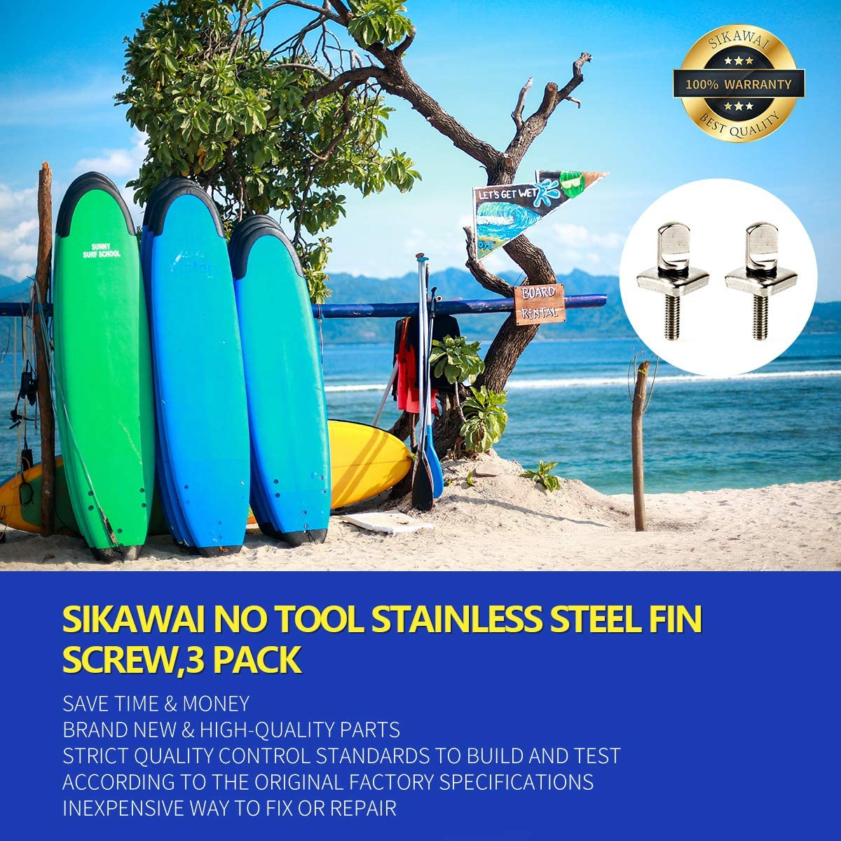 Sikawai 2 Pack No Tool Stainless Steel Fin Screw for Longboard and SUP Surfing Accessories