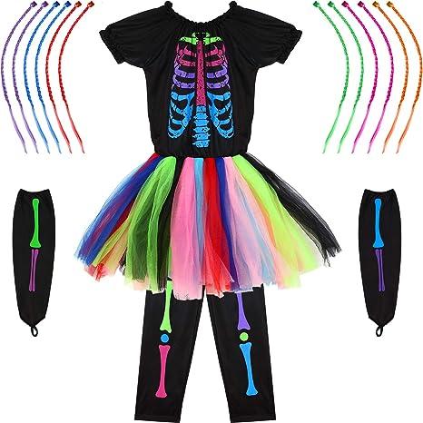 SATINIOR Juego de Disfraz de Huesos Esqueleto de Niñas de ...
