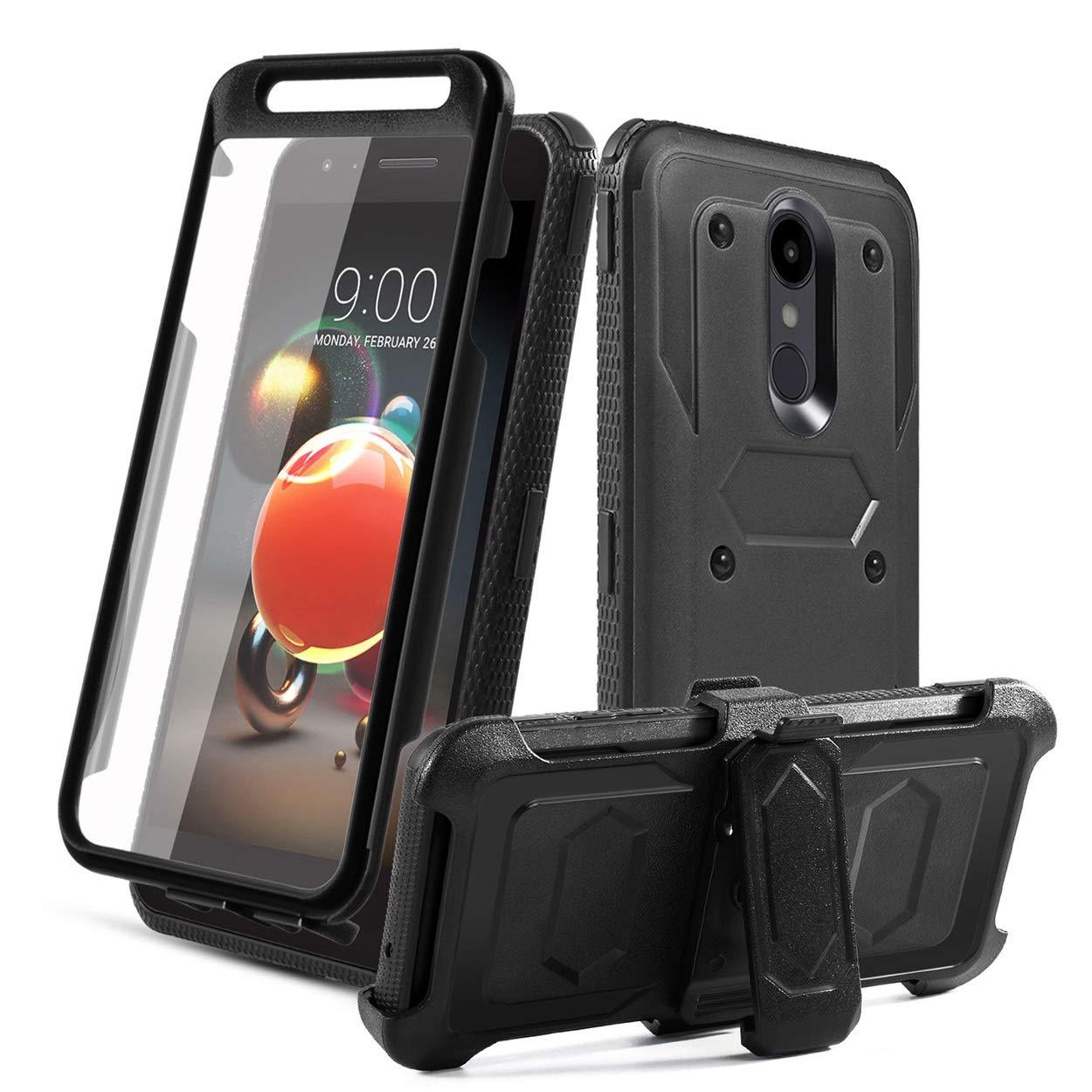 LG Aristo 2 Case,LG Aristo 3/Tribute Empire/LG K8S/Rebel 4/Tribute Dynasty/Zone 4/Aristo 2 Plus/Fortune 2/Risio 3/K8 2018/Phoenix 4 Case,[Built-in Screen Protector] Kickstand Swivel Belt Clip-Black