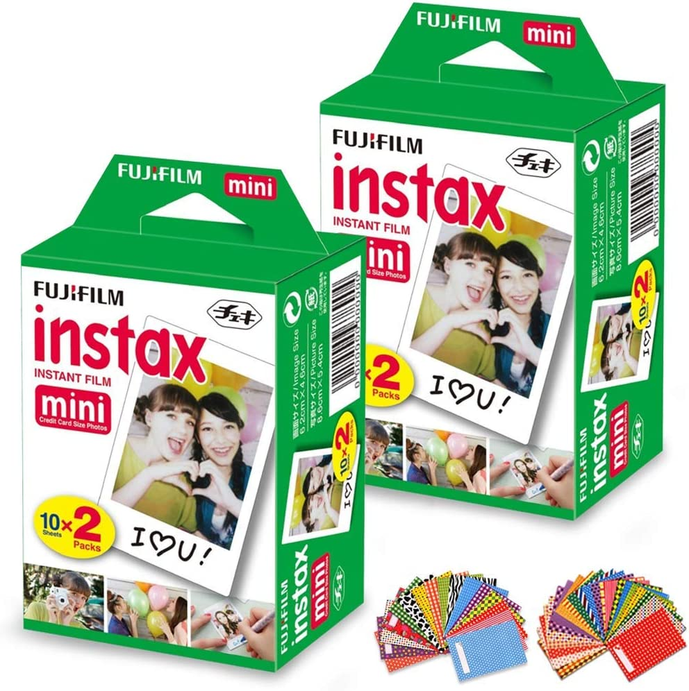 FujiFilm Instax Mini Instant Film 2 Pack (2 x 20) Total of 40 Sheets + 60 Assorted Colorful Mini Photo Stickers - Compatible with FujiFilm Instax Mini 9, Mini 8, Mini 25, Mini 90, Fuji SP-1, SP-2