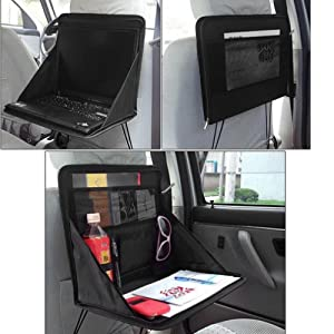 Kabalo pliable Siège arrière de voiture de stockage Organisateur avec support d'ordinateur portable / Plan de travail plateau de travail. Travailler pendant que vous voyagez!