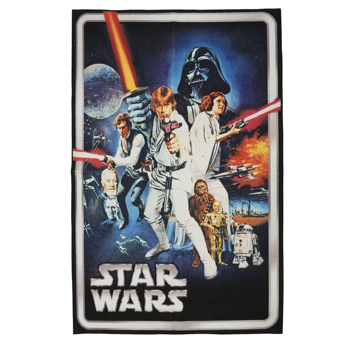 Gertmenian: Star Wars HD Digital Retro Collection 'A New Hope' Classic Bedding Area Rug 54x78 inch, Large, Blue
