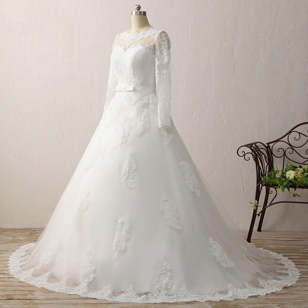 JAEDEN Brautkleid Hochzeitskleider Damen Lang Prinzessin Brautmode Spitze T/üll Langarm