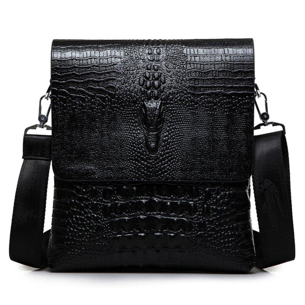 MYMYU mens bolso de hombro cruzado de cuero genuino del cuerpo del negocio bolso de la cartera del mensajero con el patrón de cocodrilo