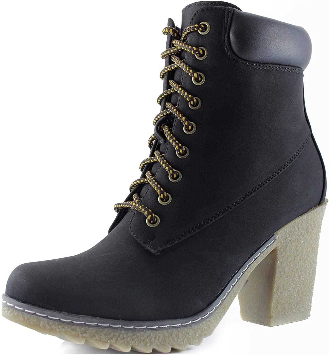 Nature Breeze Women's Lace Up Fold Over Ankle Bootie Shoe