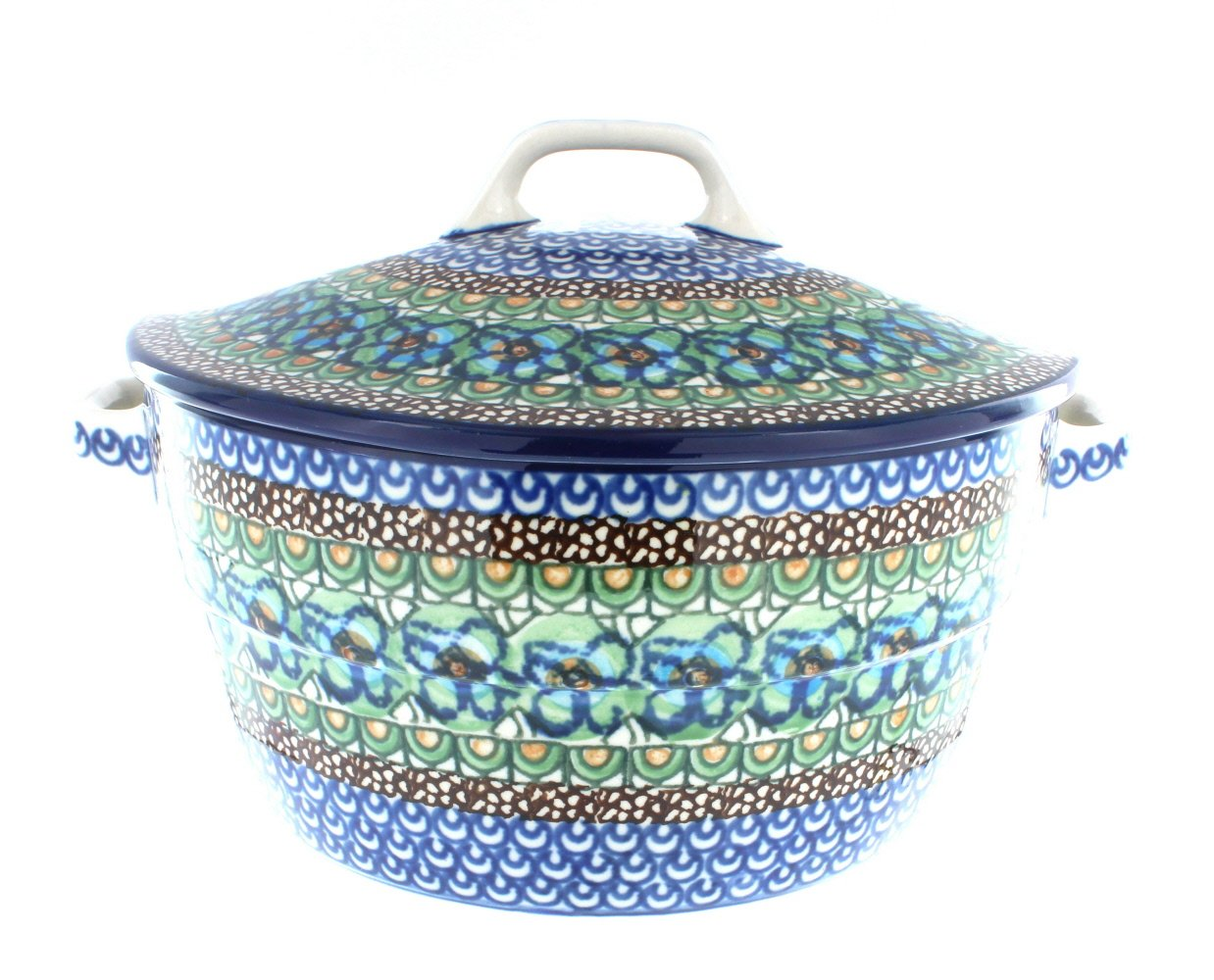 Polish Pottery Mardi Gras Round Baker with Lid