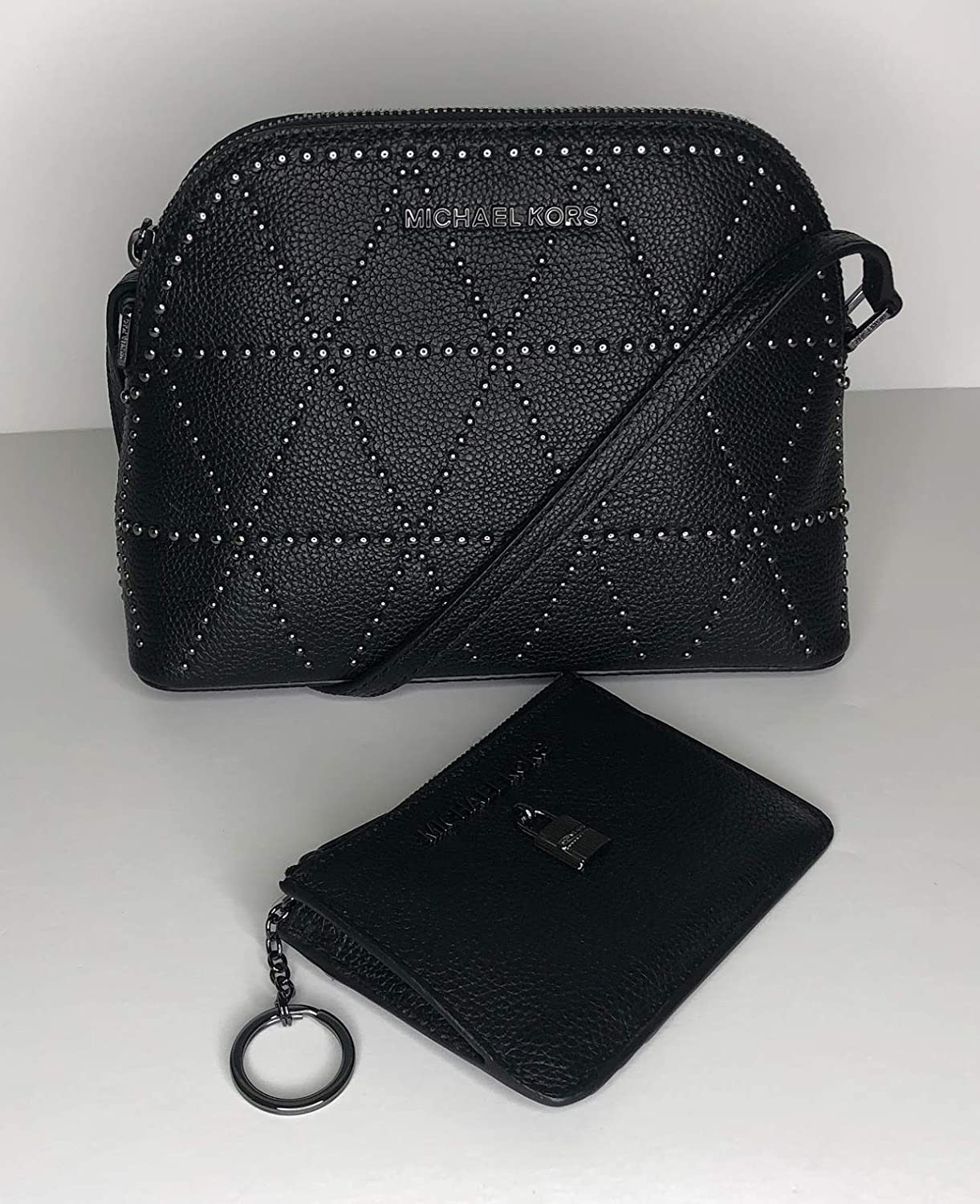 9d6043935557 MICHAEL Michael Kors Adele MD Dome Crossbody bundled with Michael Kors Adele  Small TZ Coinpouch with ID Wallet (Black Studded)  Handbags  Amazon.com