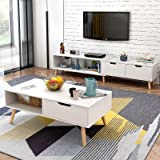 简约现代电视柜茶几组合北欧小户型地柜迷你家具伸缩电视机柜 (暖白色(电视柜+茶几组合))
