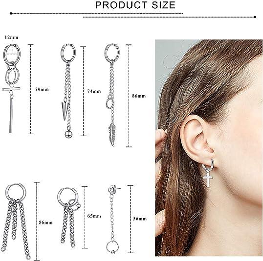 PROJEWE Stainless Steel Dangle Hinged Hoop Cross Stud Earrings for Men Women Round Hinged Sleepe Feather Earrings Ear Chain Cartilage Piercing Earrings Set