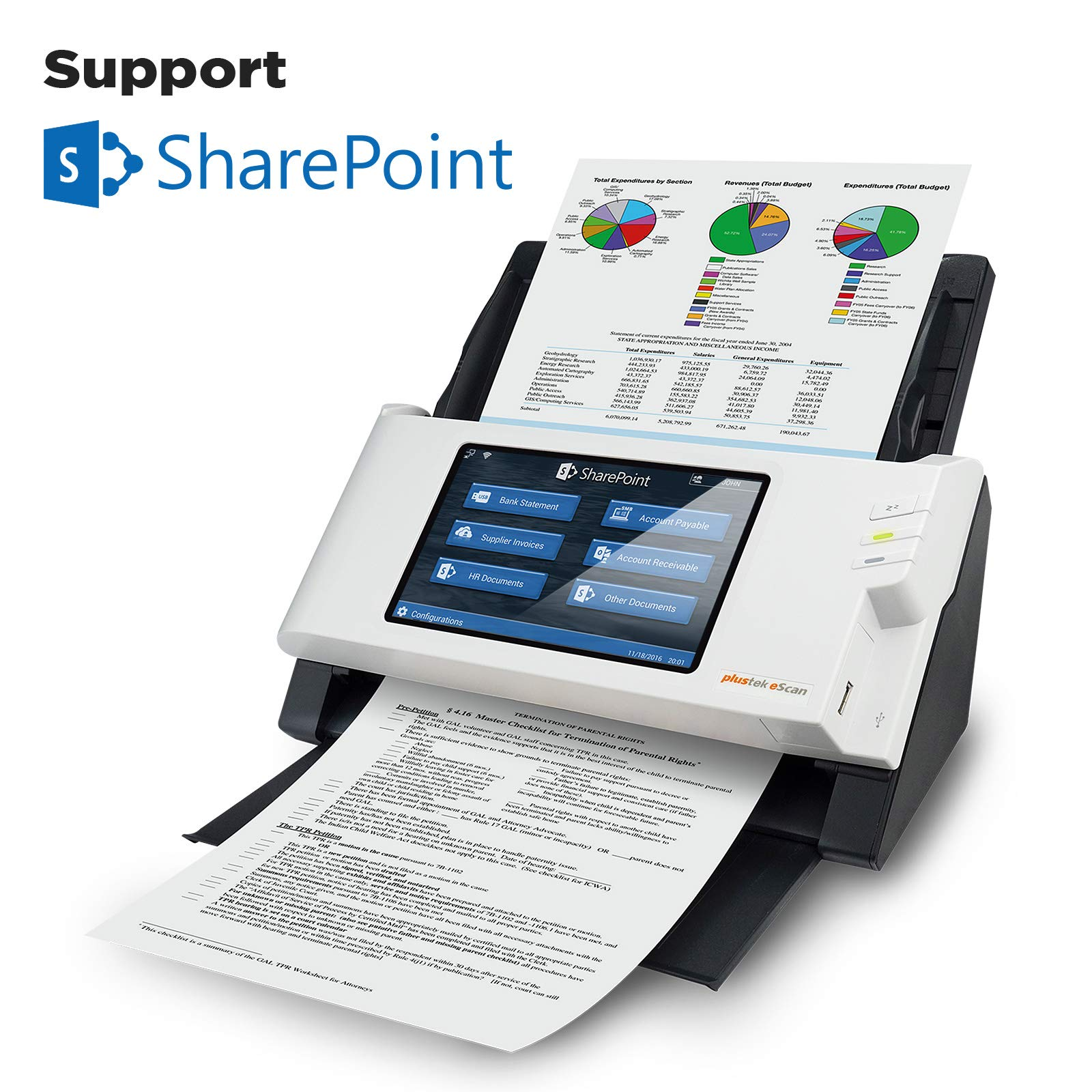 Plustek eScan SharePoint - Network Scanner Dedicated for Microsoft SharePoint and Office 365 - Standalone (PC-Less), 7'' Color Touchscreen - 50-Sheet Automatic Document Feeder by Plustek