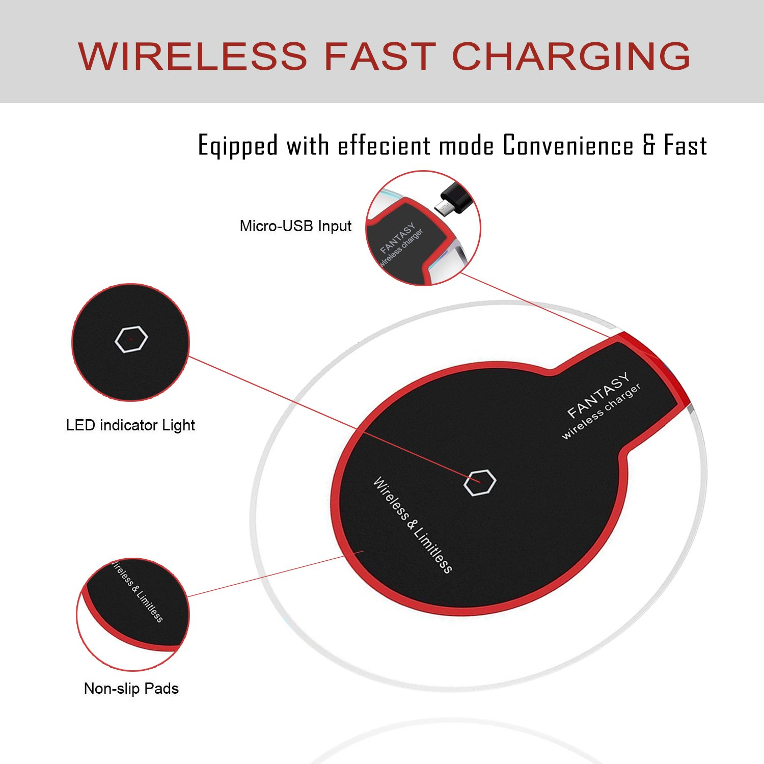 Wewdigi Wireless Charger Charging Ultra Slim Microsoft Surface Wiring Diagram For Iphone X 8 Plus Sleep Friendly With Anti Slip Rubber No Ac