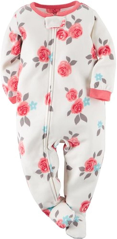 Carters Girls 5T Fleece Rose Blanket Pajama Footed Sleeper Footie