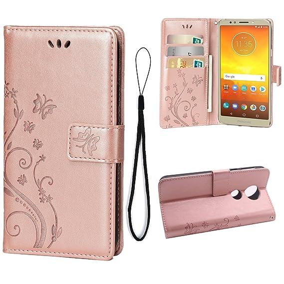new styles 7d9ac b9c08 Wallet Case for Motorola Moto E5 Plus, 3 Card Holder Embossed Butterfly  Flower PU Leather Magnetic Flip Cover for Motorola Moto E5 Plus(Rose Gold)