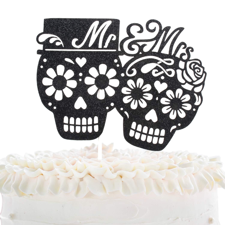 Cool Mr And Mrs Wedding Cake Topper Dia De Los Muertos Sugar Skull Funny Birthday Cards Online Eattedamsfinfo