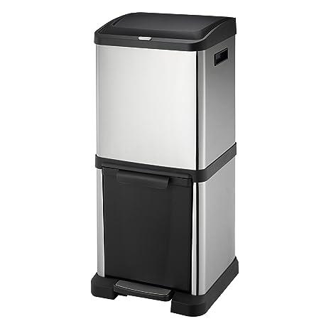 [HARIMA] Cubo Basura Reciclaje | Contenedor Reciclaje en Acero Inoxidable | 2 Unidades Basura Extraible | Comida, Papel, Vidrio y Plastica | 34 Litros ...