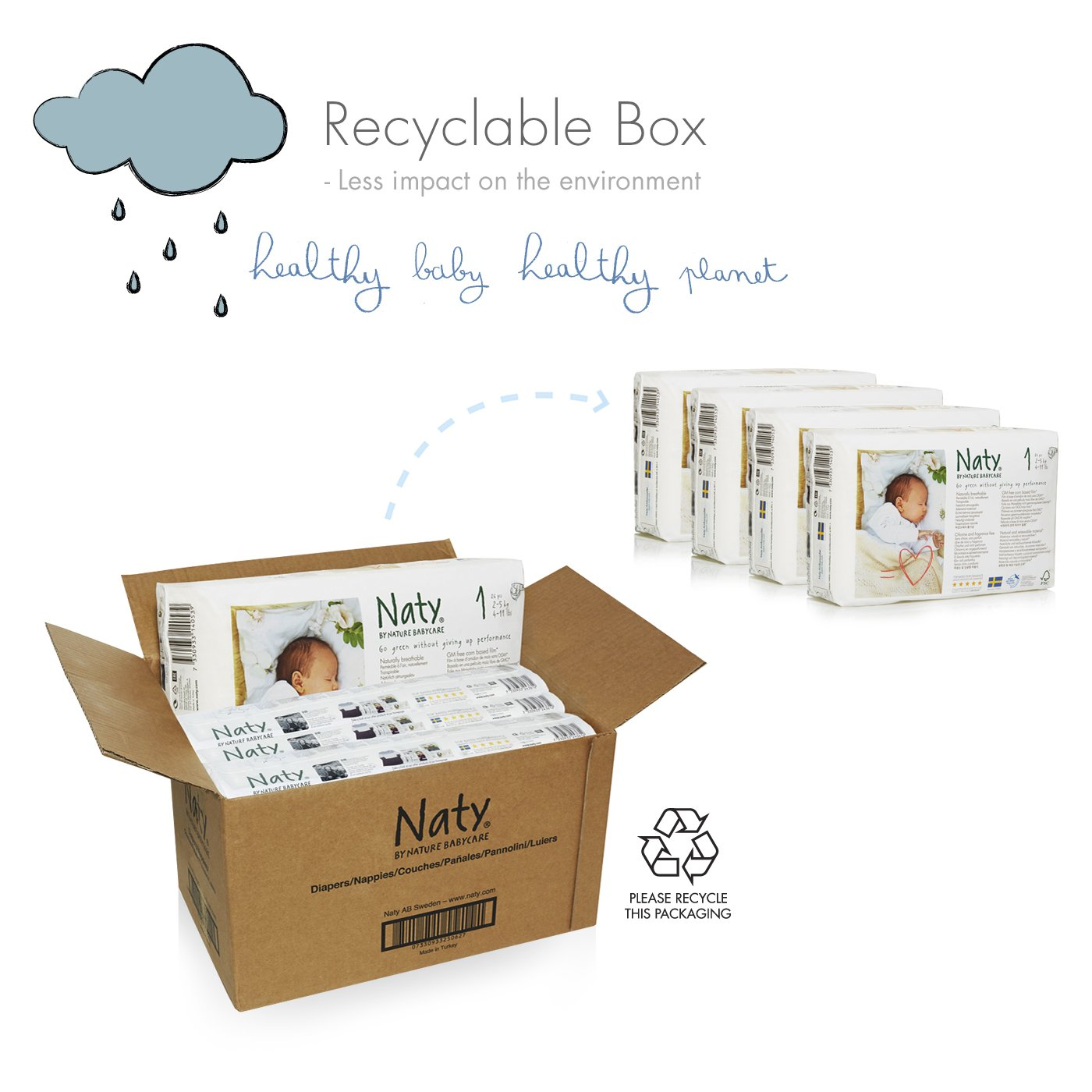 Naty By Nature Babycare Eco Friendly Premium Disposable Diapers For