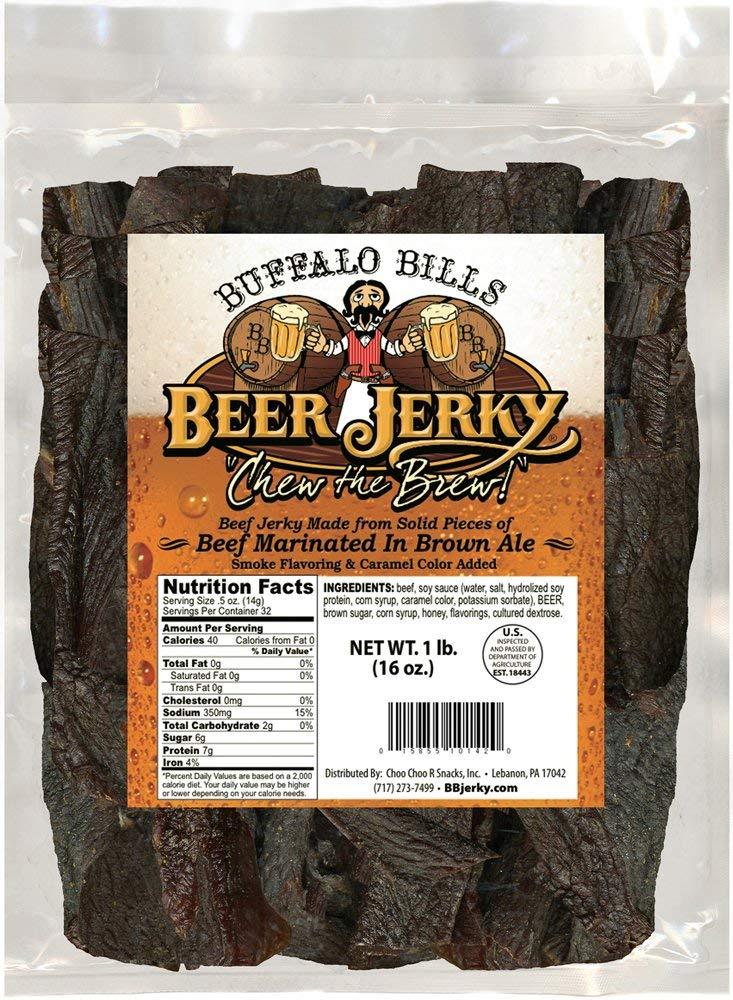 Buffalo Bills 16oz Premium Beer Jerky Pieces (beef jerky marinated in Honey Brown Ale)