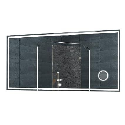 Lux-aqua Espejo de Pared Espejo con luz LED Reloj de Pared Espejo del baño