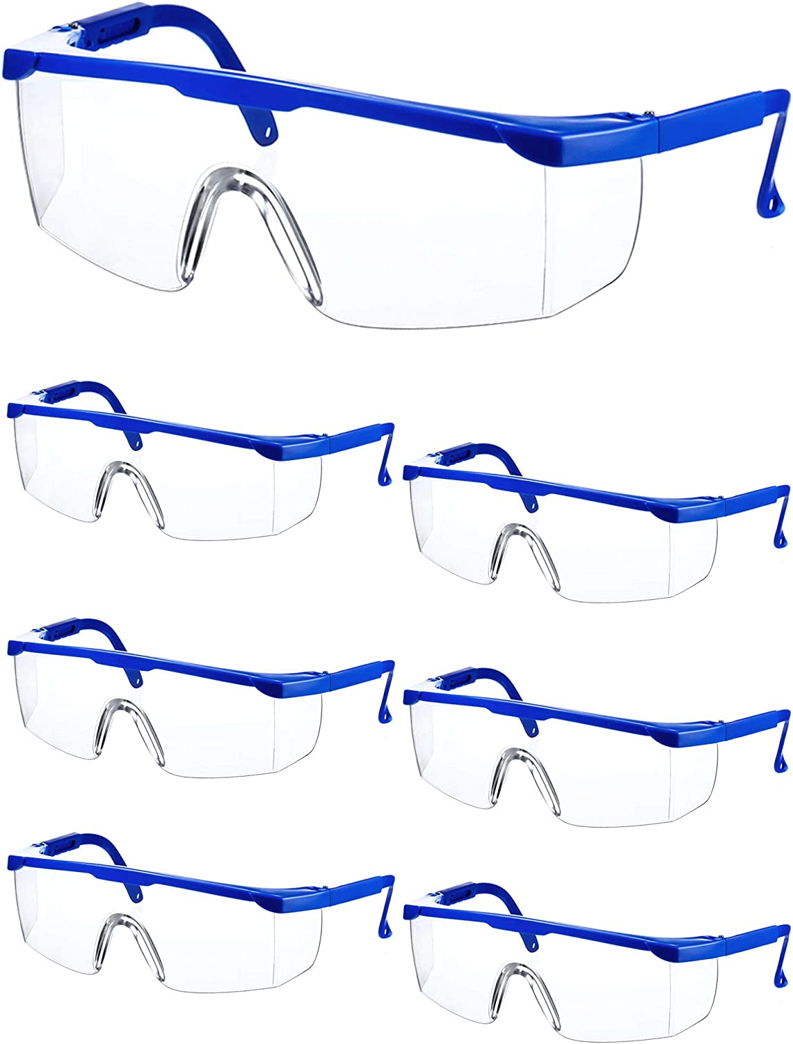 Blue Workplace Safety Goggles Protective Goggles Eyewear Clear Glasses Splash Windproof Dustproof Goggles Wrap-Around Lenses and No-Slip Grips Protection for Workplace Industrial Class 6