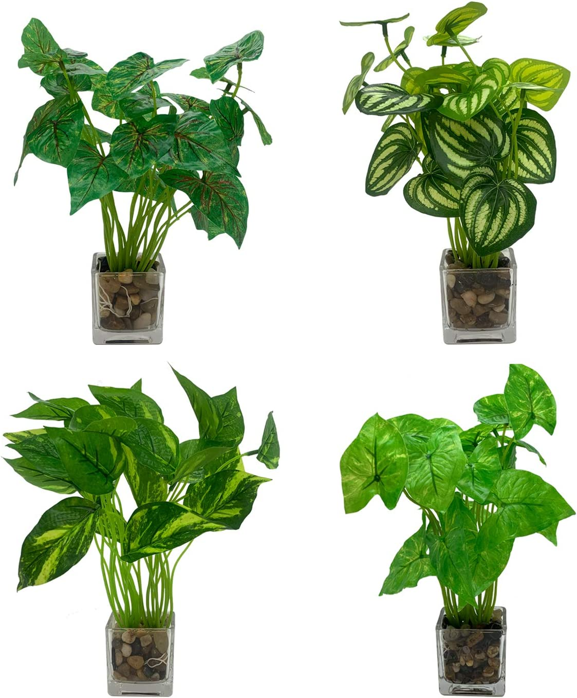 Set of 4 Artificial Greenery Plants with Decorative Stones in Clear Pots – Realistic Greenery Mini Potted Faux Plant Arrangements | for Home Office Decor, Shelf, Bathroom, Kitchen Table Centerpieces
