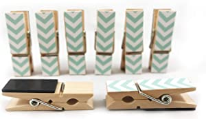 8 Pack Clothes Pin Magnetic Clips for Refrigerator, Home or Office | Decorative Chevron Styles (Teal)