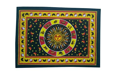 Hippie Tapestry Sun sign horoscope Wall Hanging poster Textile Hippy Hippie Flag