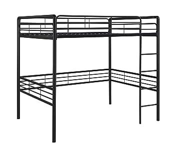 dhp full size loft bed with metal frame and ladder black - Metal Frame Loft Bed