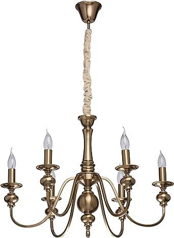 MW-Light Lustre Chandelier de Design Classique /à 5 Lampes Bougies en M/étal couleur Bronze Antique d/écor/é de Cristaux pour Salon ou Salle /à Manger 5x60W E14