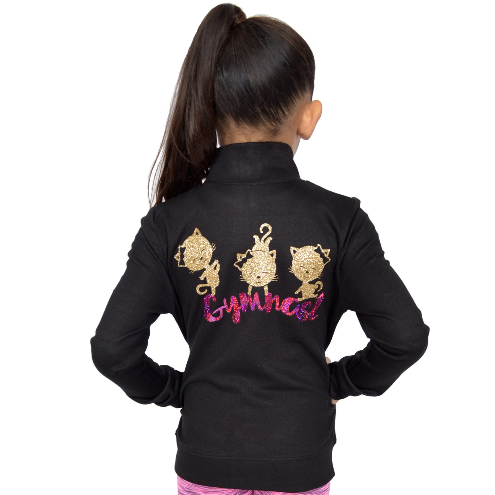Stretch is Comfort Girl's Glitter Cool Cats Gymnast Hologram Print Warmup Jacket Gold Large