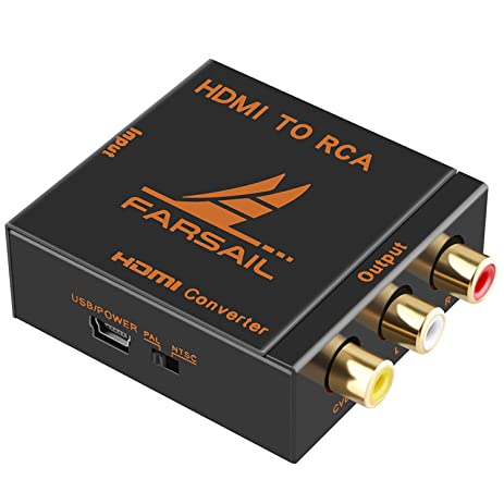 FARSAIL Hdmi Converter, 1080p Hdmi to Rca Audio Video Converter Box Support Pal / Ntsc