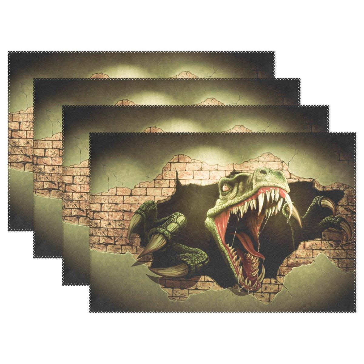 Wozo 3d恐竜プレースマットテーブルマット、動物12