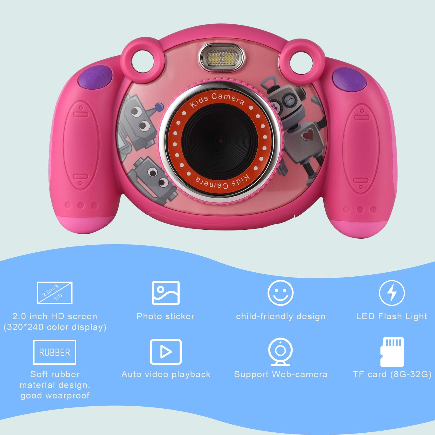 eyesen Kids Camera Digital Child Camcorder Shockproof Mini Camera with LED Flash Light and 2.0 Inch Sreen, Gifts for 4-8 Year Old Girls by eyesen (Image #2)
