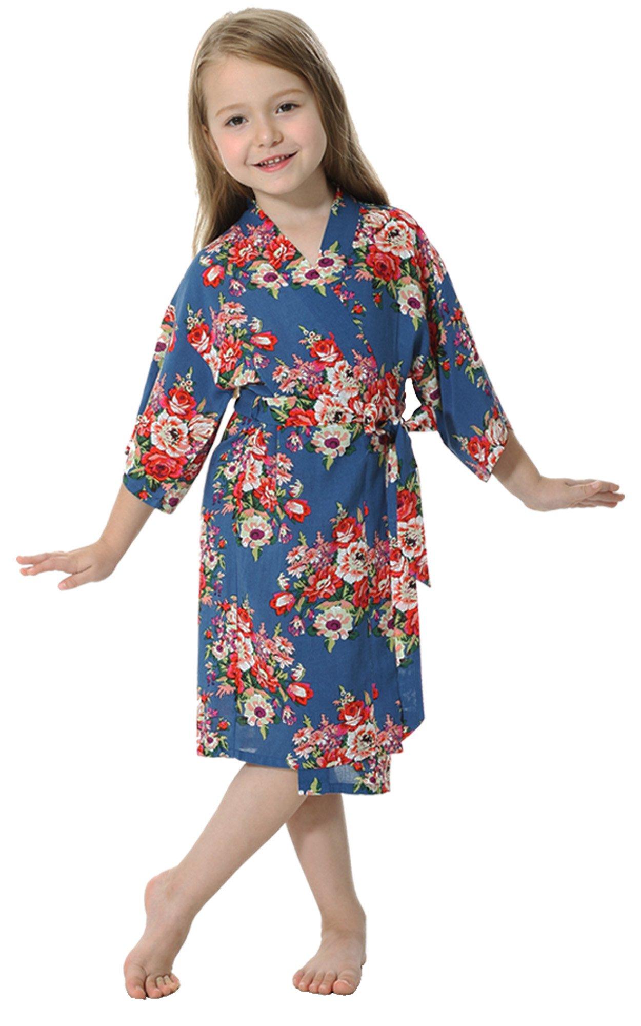 JOYTTON Girl's Cotton Floral Kimono Bathrobe Flower Girl Robe (6,Dark Blue)