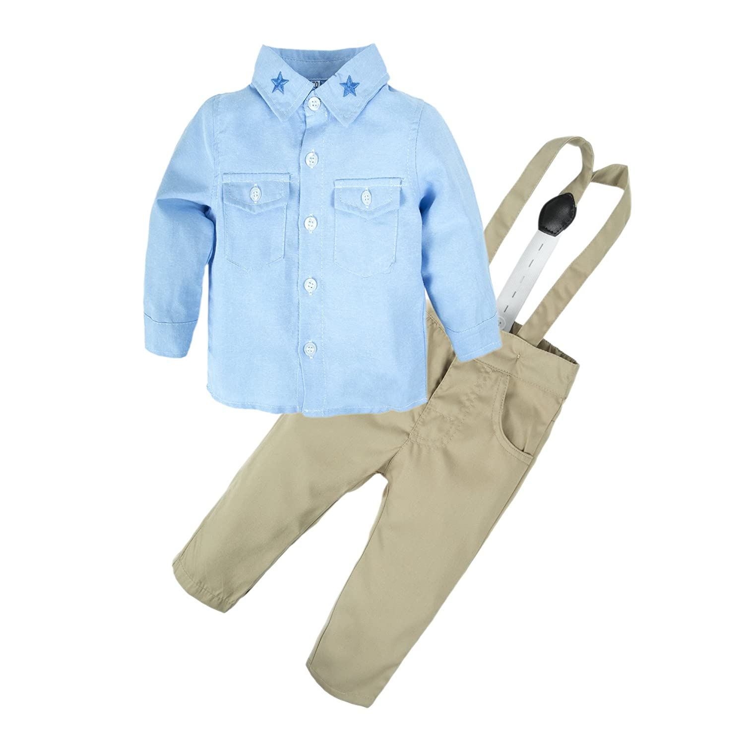 BIG ELEPHANT Baby Boys' 2 Piece Pants Shirt Clothing Set with Suspenders E34