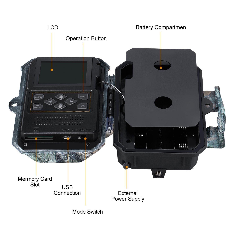 """Tarjeta SD 32GB incluida 45pcs IR LED Visi/ón Nocturna hasta 20m 2.4/""""LCD Pantalla 0.2-0.6s Tiempo de Activaci/ón IP66 Impermeable ENKEEO C/ámara de Caza 20MP 108/° /Ángulo de Visi/ón 1080P Trailcam"""