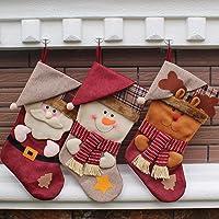 aitey christmas stocking 18 set of 3 santa snowman reindeer xmas - Best Christmas Stockings