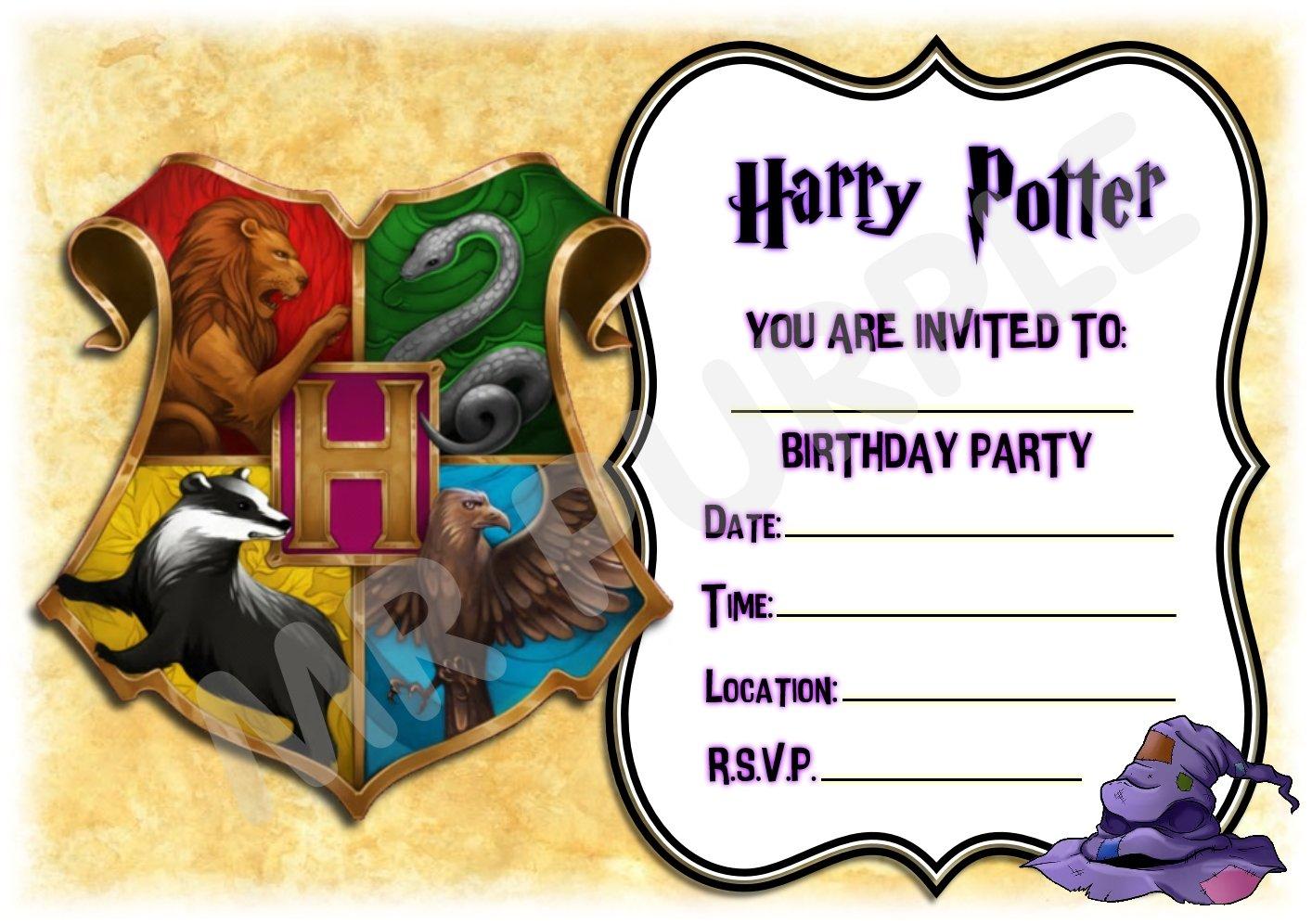 Inviti per feste di compleanno a motivo Harry Potter con stemma colorato di Hogwarts,/set da 12/inviti in formato A5 WITH Envelopes