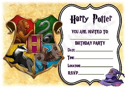 Harry Potter invitaciones de fiesta de cumpleaños – Hogwarts colorido marco de diseño de escudo suministros de fiesta/accesorios (paquete de 12 ...