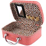 Quark Mart Stylish Makeup Bag for Women   Cosmetic Storage Boxes   Jewellery Organizer   Toiletry Box with Compact Magnifying Mirror for Travel (Multi-Colour)