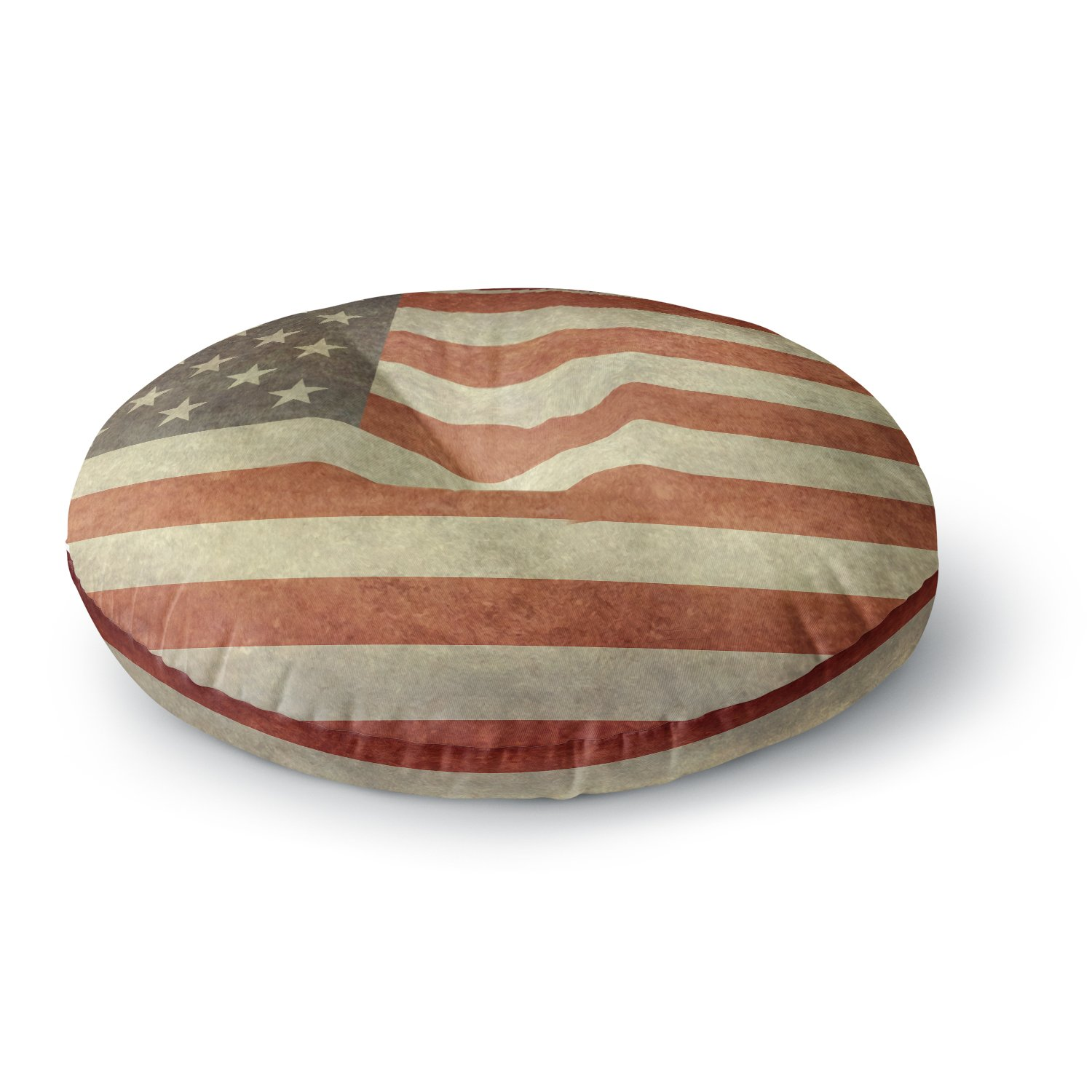26 Round Floor Pillow Kess InHouse Bruce Stanfield Flag of US Retro Rustic