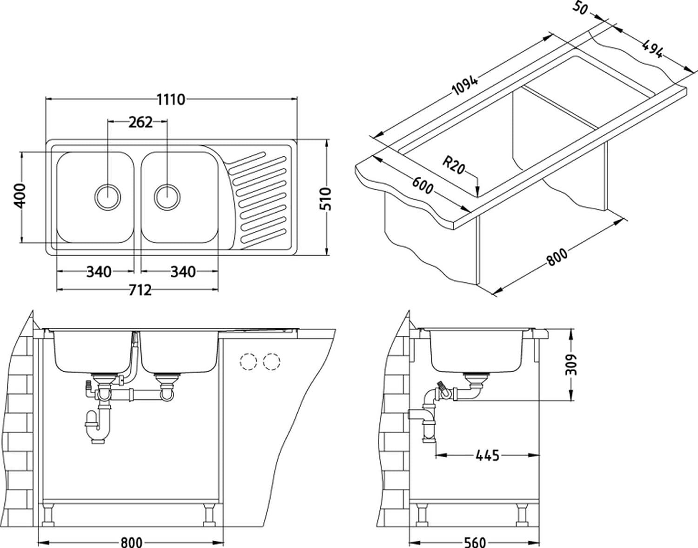 Alveus Doppelbeckenspüle mit Ablage 1110x510x190mm Doppelspüle ...
