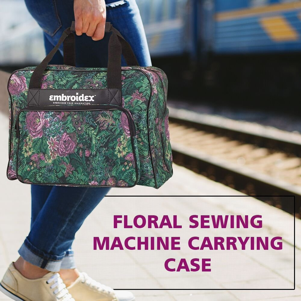 Carry Tote//Bag Universal Floral Sewing Machine Carrying Case